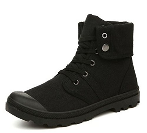 BININBOX Mens Casual Sneakers High-Top Breathable Athletic Sports Board Shoes Comfortable Running Canvas All Black tbZgf