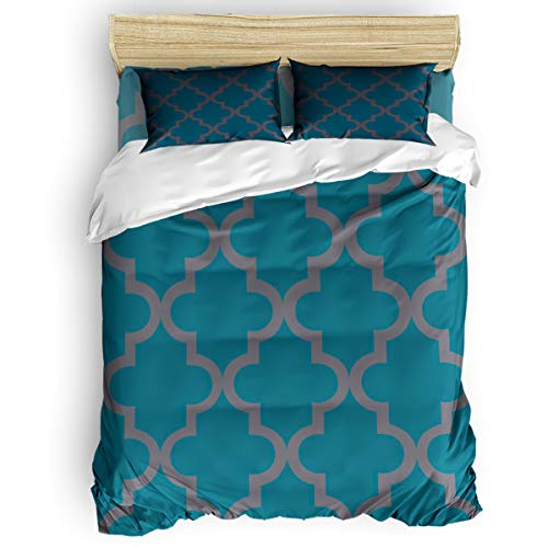 Cloud Dream Home 4 Piece Bedding Set, Morocco Decor Green Geo Twin Size(Small) Quilt Bedspread for Childrens/Kids/Teens/Adults ()