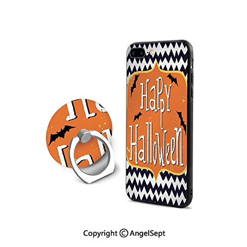Case Compatible iPhone 8 & iPhone 7 (NOT Plus) with Ring Holder Kickstand,Cute Halloween Greeting Card Inspired Design Celebration Doodle Chevron Decorative,Ultra Thin Slim Cover Case,Indigo White O]()