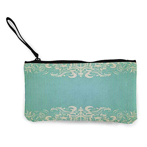 (Women's hand bag clutch bag Vintage Old Fashioned Frame with Grungy Ancient Floral Curlicues Baroque Revival Motifs Wallet Coin Purses Clutch W 8.5