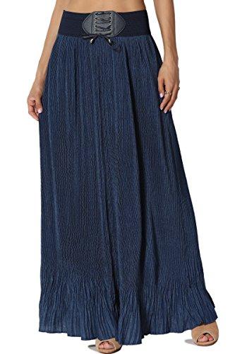 Full Skirt Pleats Skirt - TheMogan Junior's Pleated Chambray Denim Elastic Belted Maxi Skirt Navy ONE Size