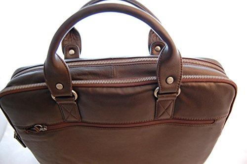 Laptop Ledertasche Notebook Tasche echtes Leder dunkelbraun Gil Holsters Aktentasche in top Qualität
