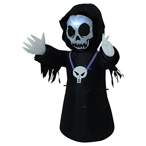 [NEW 4FT Inflatable Black Ghost Halloween Decoration Yard/Indoor Lighted Air Blown] (Dachshunds In Minion Costumes)