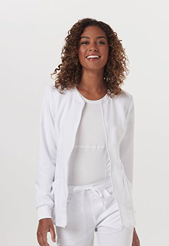 Code Happy Womens Zip Front Warm Up Solid Scrub Jacket  White  Small