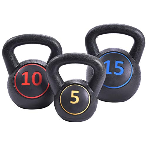 GYMAX Kettlebells, 3 Pcs Vinyl Kettlebell Weights Set Weights 5, 10, 15 lbs Set, for Strength and Conditioning, Fitness