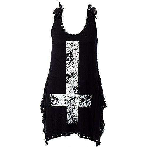 Jawbreaker Vêtements–Femme Noir Crâne Motif symétrie inversée Motif Croix Top
