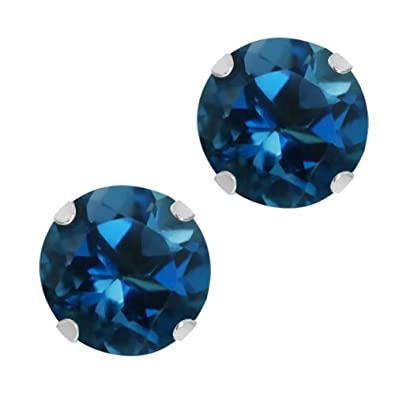 1.20 Ct Round 5mm London Blue Topaz 10K White Gold Stud Earrings
