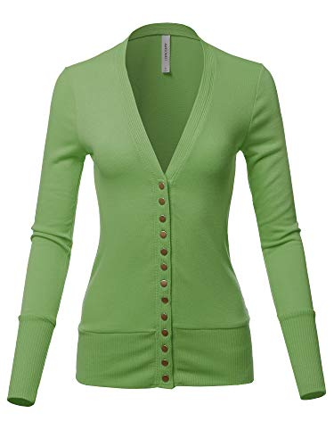 Causal Button Long Sleeves Everyday Cardigan Apple Green 2XL