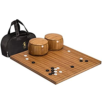 "Go Game Set with Etched Bamboo Go Board (0.8"" Thick), Single Convex Yunzi Stones and Bamboo Bowls by Yellow Mountain Imports"