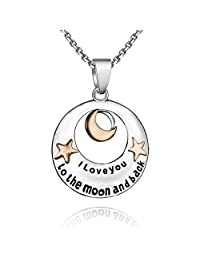 """I Love You to the Moon and Back"" Pendant Necklace - Best Jewelry Gift - 19"" (48.25cm)"