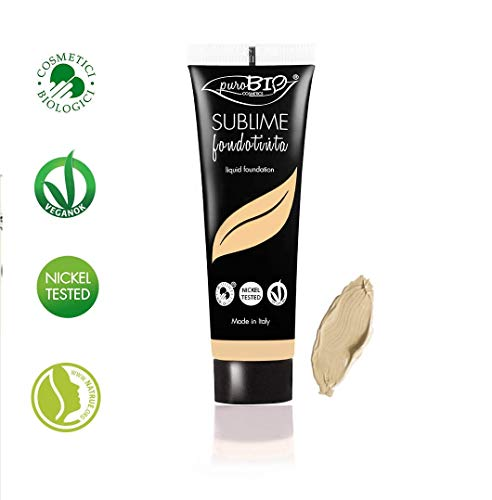 PuroBIO Certified Organic SUBLIME Revolutionary Long-Lasting, Liquid Foundation with Anti-Aging and Mattifying properties, Color 01 Light. Contains Antioxidants, Vitamins, Plant Oils. ORGANIC. VEGAN. NICKEL TESTED. MADE IN ITALY ()