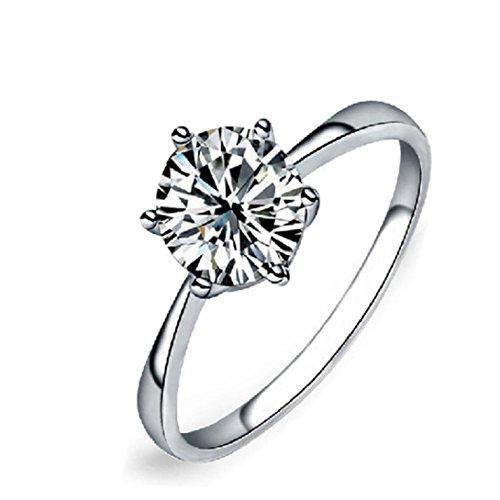 Gyoume Jewelry Ring Women Engagement Wedding Band Ring Vintage Beautiful White Diamond Ring (08, Sliver)