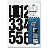 """Press-On Vinyl Numbers, Self Adhesive, Black, 4""""""""h, 23/Pack, Sold as 23 Each"""