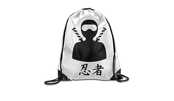 Ninja Figura Kanji Impresión Cordón Mochila Mochila Hombro ...