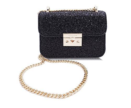 Glitter Purse - Small Shoulder Bag Crossbody Bag for Women Glitter Purse Evening Handbag Clutch with Chain strap (Black)