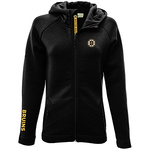 Levelwear LEY9R NHL Boston Bruins Adult Women Motion Insignia Bold Full Zip Hooded Jacket, Small, Black
