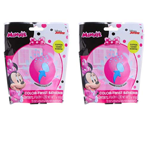 Kids Bath Bombs - Set of 2 Character Color-Twist Bath Bombs - Fizzes & Tints Bathwater with Vibrant Colors (Minnie Mouse, Cotton Candy Scented) -