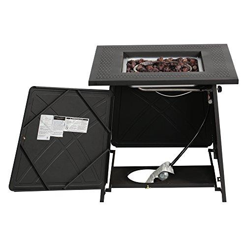 "BALI OUTDOORS Firepit LP Gas Fireplace 28"" Square Table 50,000BTU Fire Pit, Best Firetable Black"