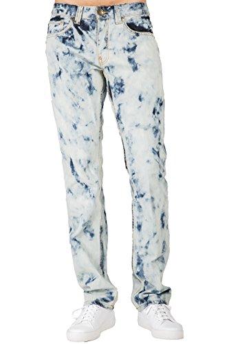 Bleached Straight Leg Jean (Level 7 Men's Slim Straight Leg Premium Denim Jeans Abstract Bleached Wash Size 40)