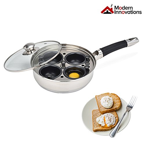 (Egg Poacher Pan Set Stainless Steel Frying Pan with 4 Nonstick Jumbo Egg Cups, Silicone Handle, Glass Lid, Removable Tray Insert & Bonus Spatula - Modern Innovations)