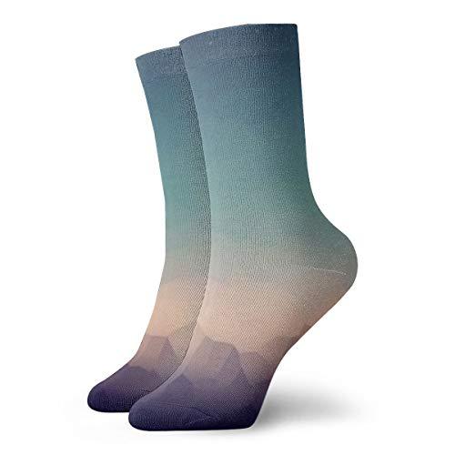 Unisex High Ankle Cushion Crew Socks Landscape Mountains Casual Sport - Mountain Laurel Light