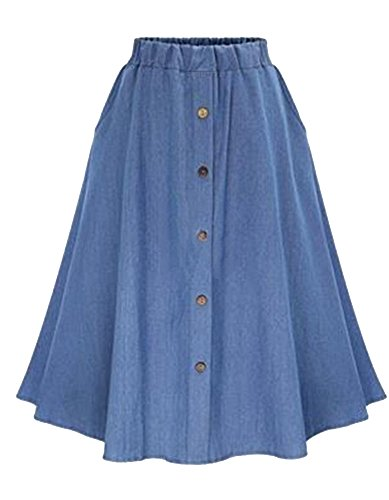 Allonly Women's A-Line High Waisted Button Front Drawstring Pleated Midi Skirt with Elastic Waist Knee Length Light Blue(Denim)
