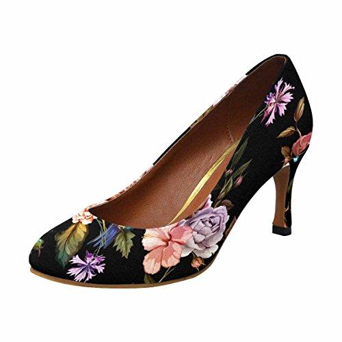 Interestprint Mujeres Classic Fashion High Heel Dress Bomba De Rosas, Peonía, Hojas, Acianos Y Colibrí