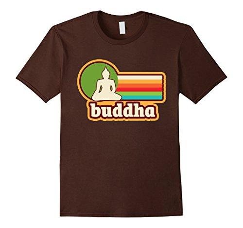 [Mens Vintage Graphic Buddha Silhouette 70's Retro T-Shirt 3XL Brown] (Buddha Fitted T-shirt)