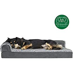 Furhaven Pet Dog Bed | Deluxe Orthopedic Two-Tone Plush Faux Fur & Suede L Shaped Chaise Lounge Sofa-Style Living Room Corner Couch Pet Bed w/ Removable Cover for Dogs & Cats, Stone Gray, Medium