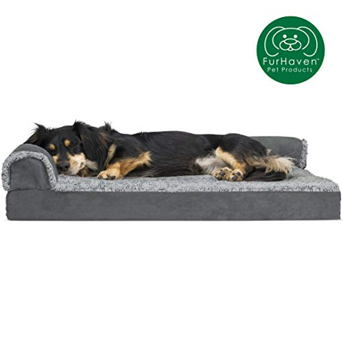 Furhaven Pet Dog Bed | Deluxe Orthopedic Two-Tone Plush Faux Fur & Suede L Shaped Corner Chaise Lounge Sofa-Style Living Room Couch Pet Bed for Dogs & Cats, Stone Gray, Medium