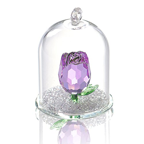 H&D Crystal Enchanted Rose Flower Figurine Dreams Ornament in a Glass Dome Gifts for her (Purple)