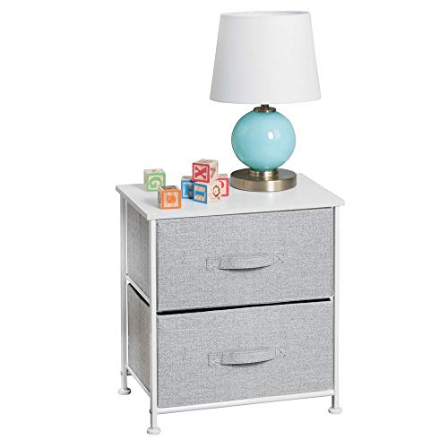 - mDesign Short Vertical Dresser Storage Tower - Sturdy Steel Frame, Wood Top, Easy Pull Fabric Bins - Organizer Unit for Child/Kids Bedroom or Nursery - Textured Print - 2 Drawers - Gray/White