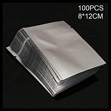 richiudibili in Alluminio Mylar Lophome Buste in Alluminio Mylar Trasparente con Cerniera 5x7CM per spezie e polveri Confezione da 100 termosigillabili