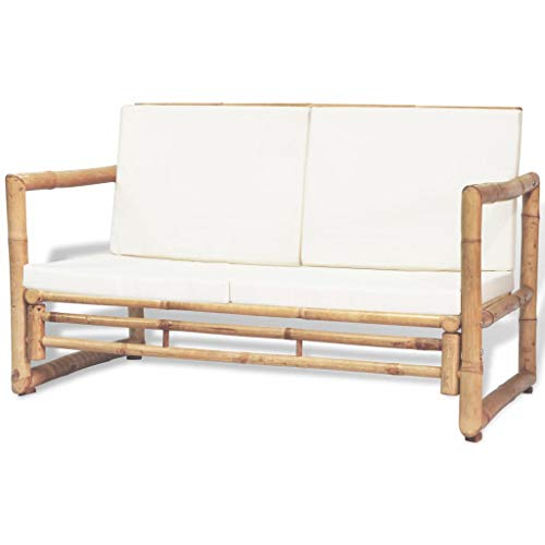 Festnight 2-Seater Garden Sofa with Soft Padded Cushions and Armrest Bamboo Loveseat Couch Outdoor Bench for Backyard Balcony Poolside Furniture 45.3 x 25.6 x 28.3 Inches (W x D x H)