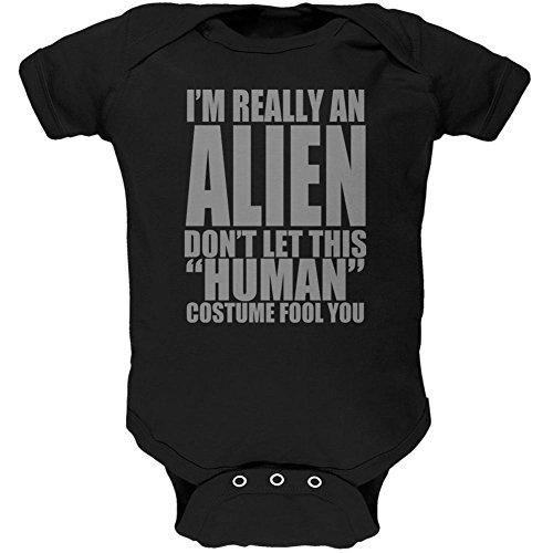 Halloween Human Alien Costume Soft Baby One Piece Black 0-3 M (Alien Baby Costume)