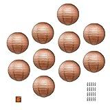 Mudra Crafts - Farolillos de papel pastel redondos, decorativos, color blanco y negro con foco LED y batería, marrón 30.5 cm