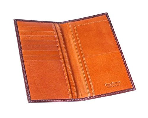 SAGEBROWN Brown With Tan Classic Tall Wallet by Sage Brown