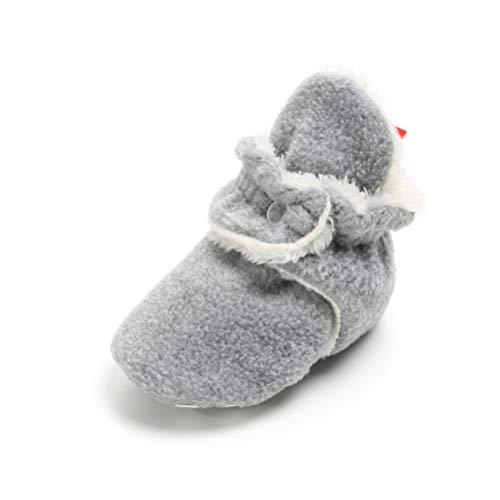 - Unisex-Baby Newborn Cozie Fleece Bootie, Cotton Lining Soft Sole Shoes (12-18 Months, Light Gray)