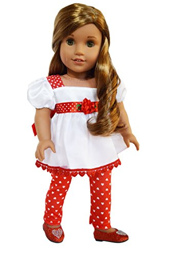 My Brittany's Satin Valentines Day Hearts Outfit with Leggings for American Girl Dolls- 18 Inch Doll Clothes