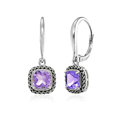Sterling Silver Amethyst Cushion-Cut 7mm Oxidized Braid Dangle Leverback Earrings