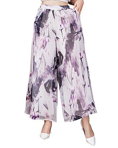 Mujer Pantalones de Pernera Ancha Boho Floja Pantalones con Cintura Elástica Pantalones Largo de playa Negro 1