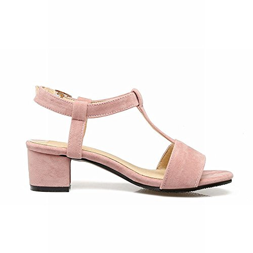 Sandalo T-strap Da Donna Con Fibbia Carolbar Sandali Eleganti Open Toe Con Tacco Medio Color Rosa