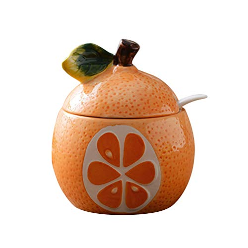(Fruit Shaped Ceramic Sugar Bowl Salt Pot Pepper Storage Jar Seasoning Pot Container Condiment Spice Box Holder with Lid and Spoon (Orange Pomelo))
