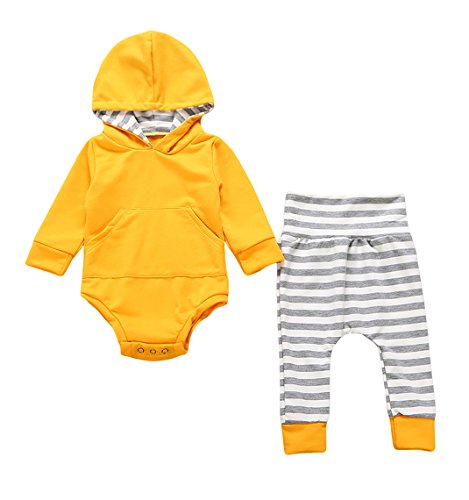 2pcs Newborn Infant Baby Boy Girl Hooded Sweater Romper Tops+Striped Long Pants Outfit Clothing Set (Yellow) (0-6 Months, Yellow)