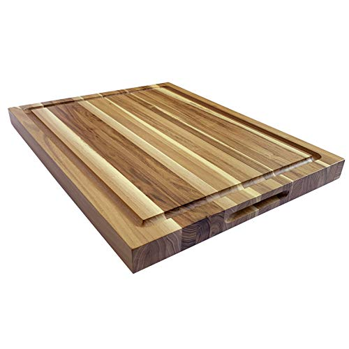 Wood Reversible Cutting Board - Large Reversible Teak Wood Cutting Board: 18x14x1.25 with Juice Groove (Gift Box Included) by Sonder Los Angeles