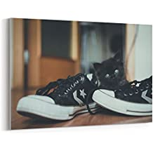 Westlake Photography - Canvas Print Wall Art - Cat Black on Canvas Stretched Gallery Wrap - Modern Picture Photography Artwork - Ready to Hang - 18x12in (37x ff2)