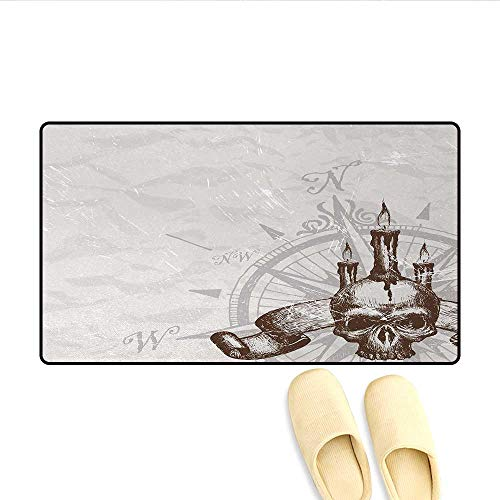 Bath Mat,Compass with Skull and Candles Spooky Adventure New Pirate Destinations Theme,Door Mats Area Rug,Brown Pearl Grey,Size:32