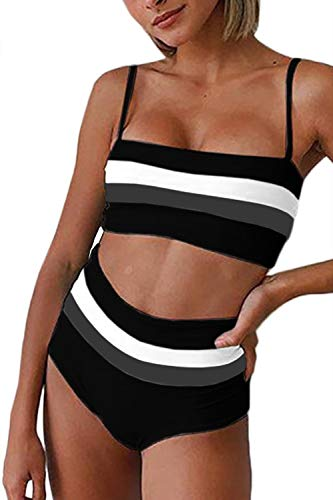 Almaree Womens Spaghetti Strap Colorblock Bandeau Bikini Set Striped Swimwear Black S