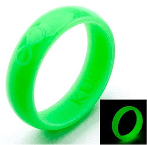 KUSI Infinity Women's Silicone Wedding Ring - Green Glow In The Dark ()