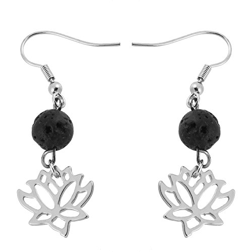 SENFAI Lotus Flower 8mm Lava-rock Black Dangle Earrings 3 Tone Essential oil diffuser (Silver) ()